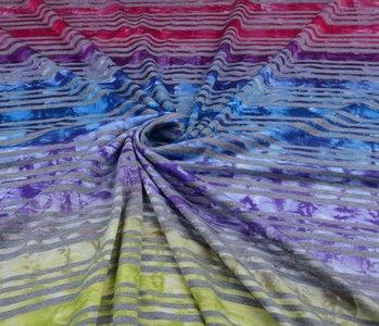Jersey Viscose Kleine Streep Multicolor 2