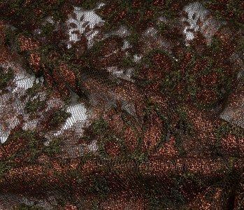 SpitzenStoff Blumen Braun - army Grün