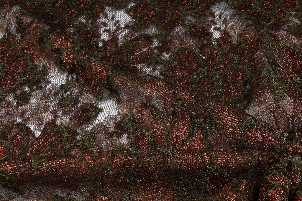 Kant Bloemen Bruin - army groen