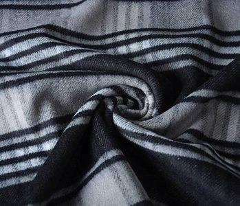 Wollen stof Geruit Zwart-Grijs