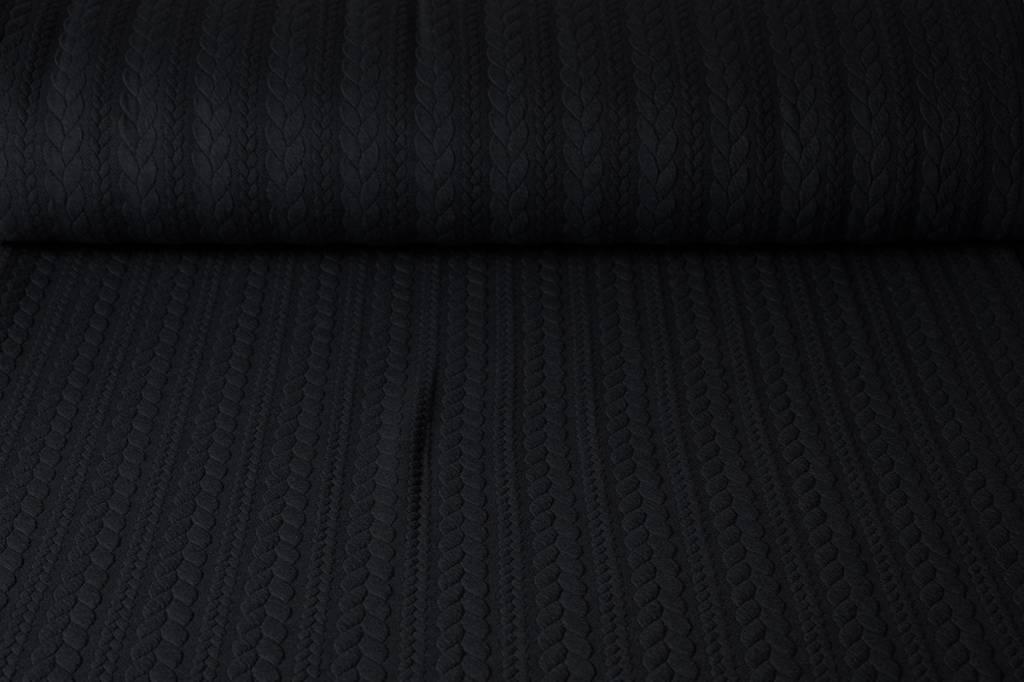 Gestrickte  Kabel Stoff tricot Schwarz