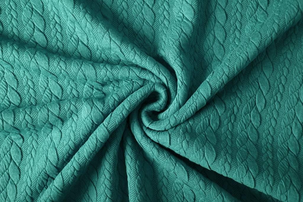 Gestrickte  Kabel Stoff tricot Seegrün