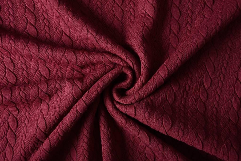 Gestrickte Kabel Stoff tricot Bordeaux