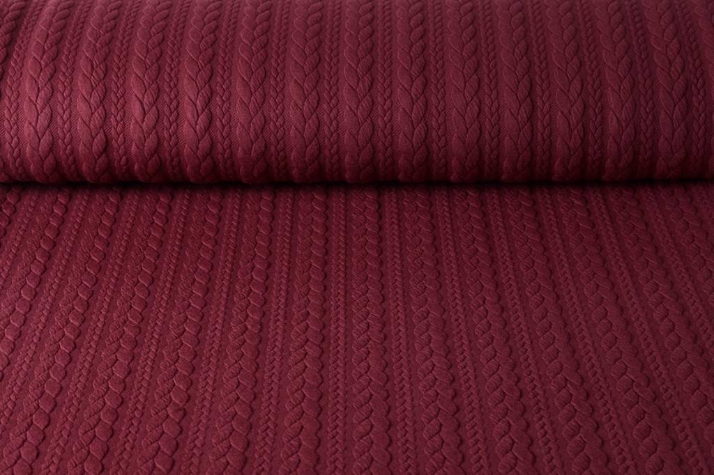 Gebreide kabel stof tricot Bordeaux