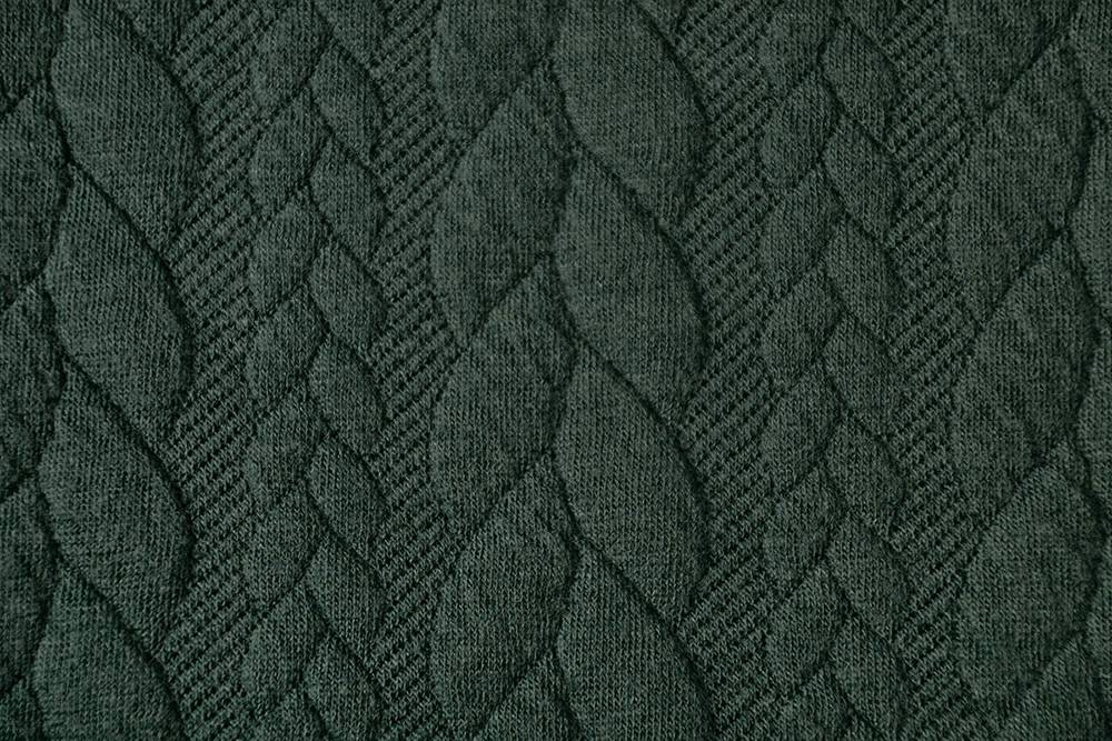 Gestrickte  Kabel Stoff tricot Army Grün
