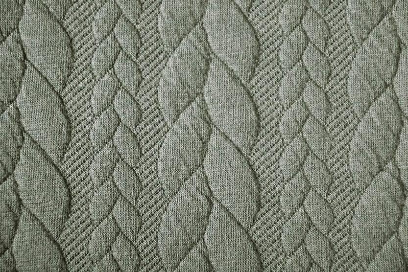 Gebreide kabel stof tricot Licht Army Groen