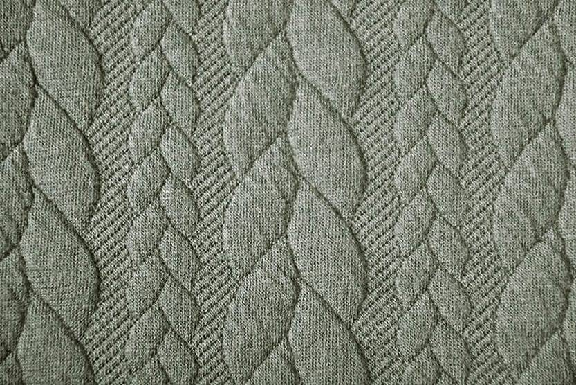 Knitted Cable fabric tricot Light Army Green