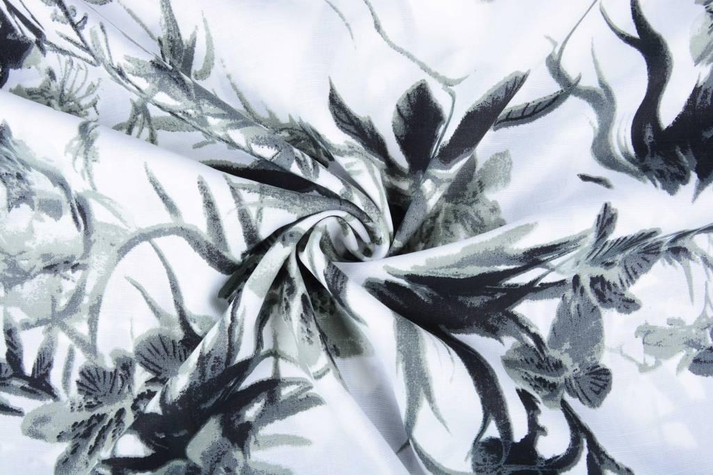 Gemustert Leinenlook Graue tropische Blumen