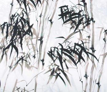 Gemustert Leinenlook Bambus Taupe