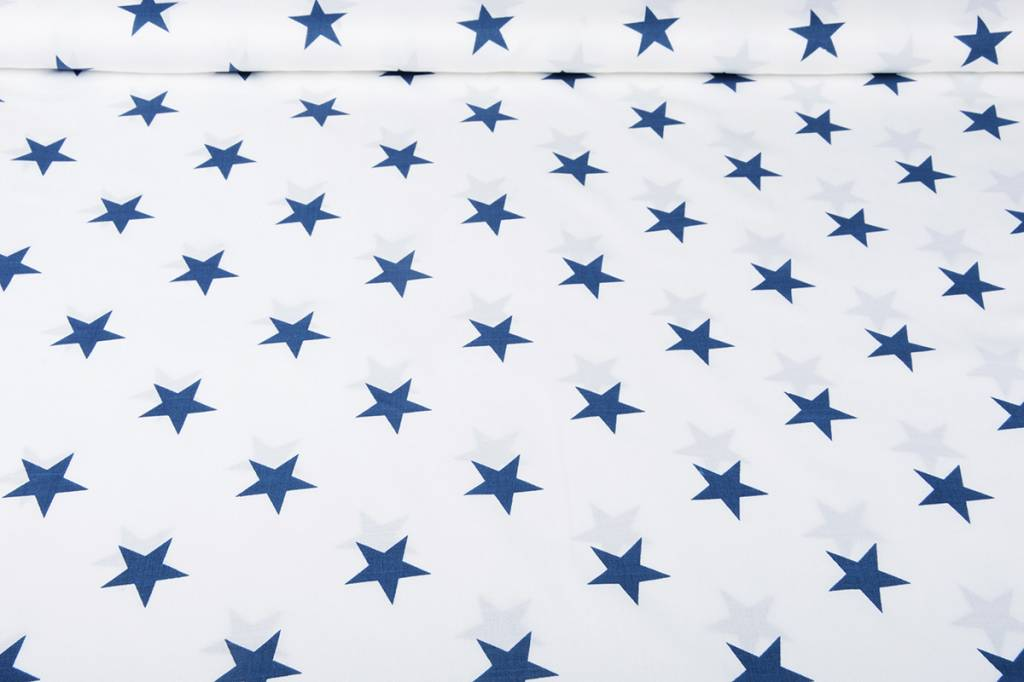 Gemustert Leinenlook  Sterne blau