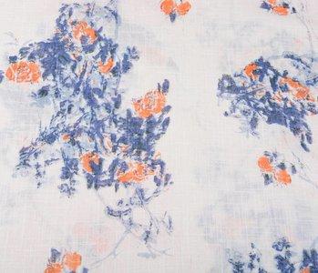 Gemustert Baumwolle Leinenlook Rosen Blau Orange