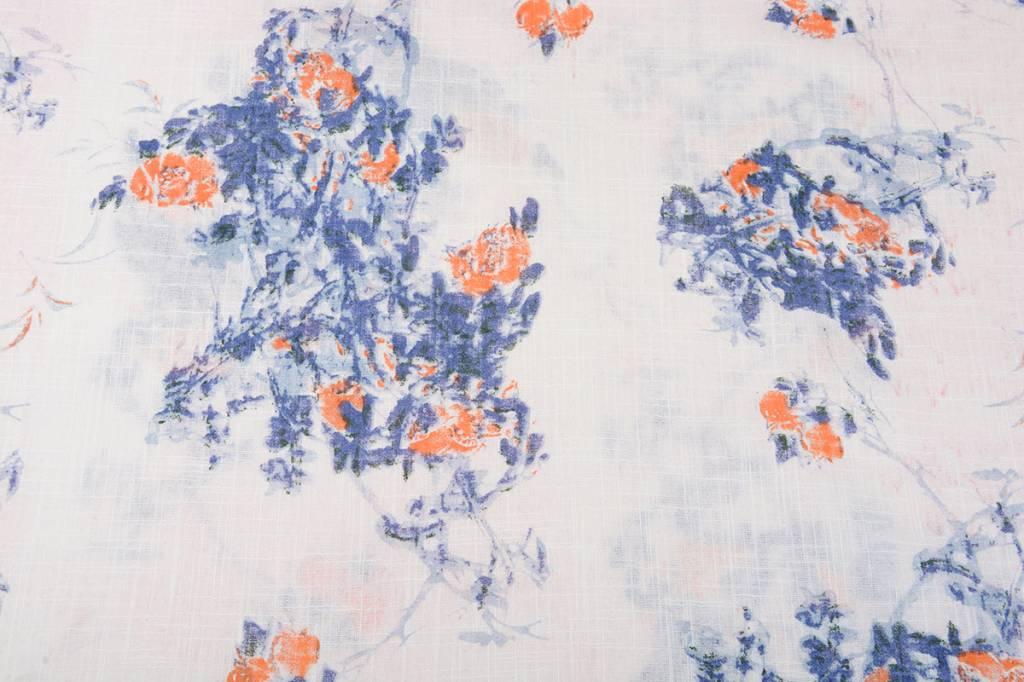 Bedrukt Katoen Linnenlook Rozen Blauw Oranje