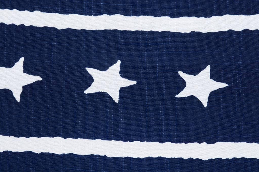 Gemustert Leinenlook Sterne Streifen Marine