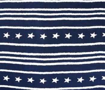 Gemustert Leinenlook Star Striped Navy