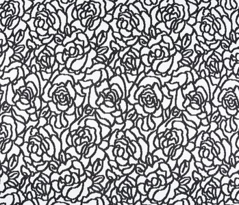 Jacquard knitted Roses Black White