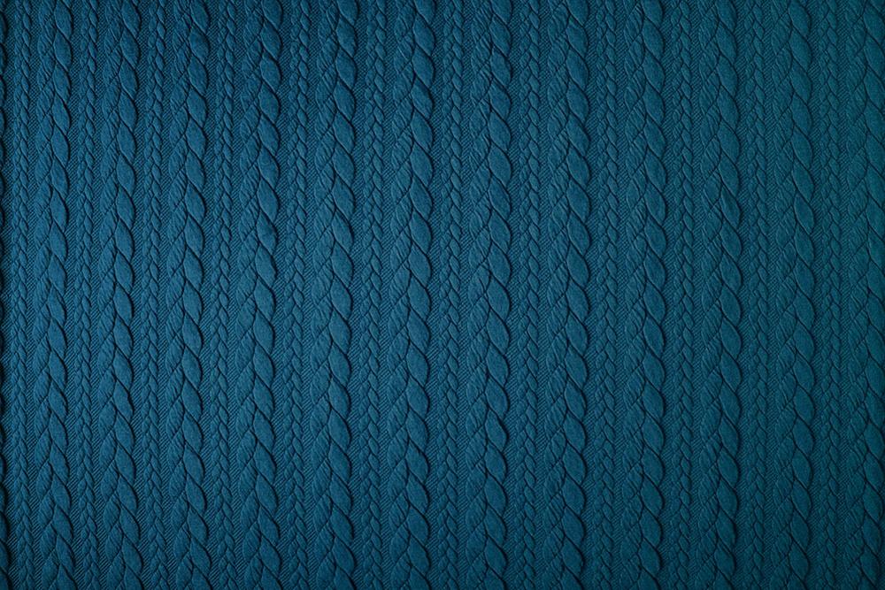 Gebreide kabel stof tricot Petrol