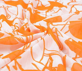 Yoryu Chiffon Printed Flamingo Orange