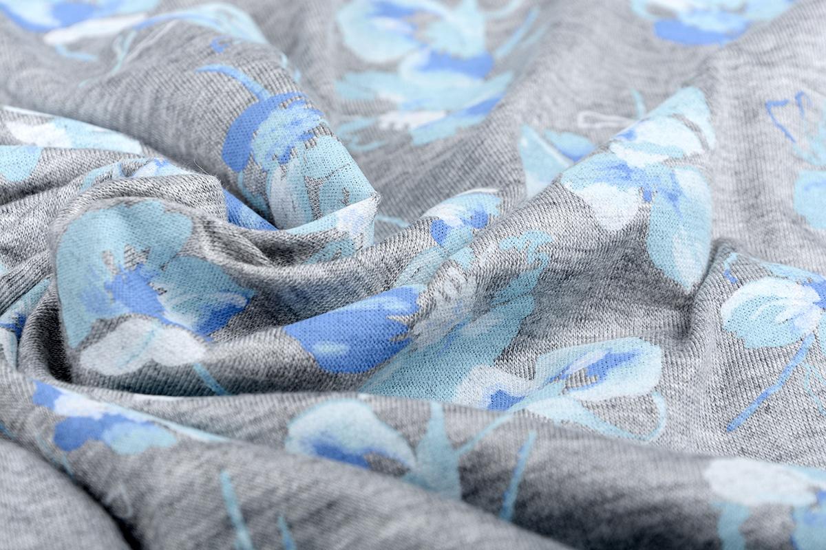 Mi & Joe Viscose Stoff Baumwolle Veilchen Grau Melange