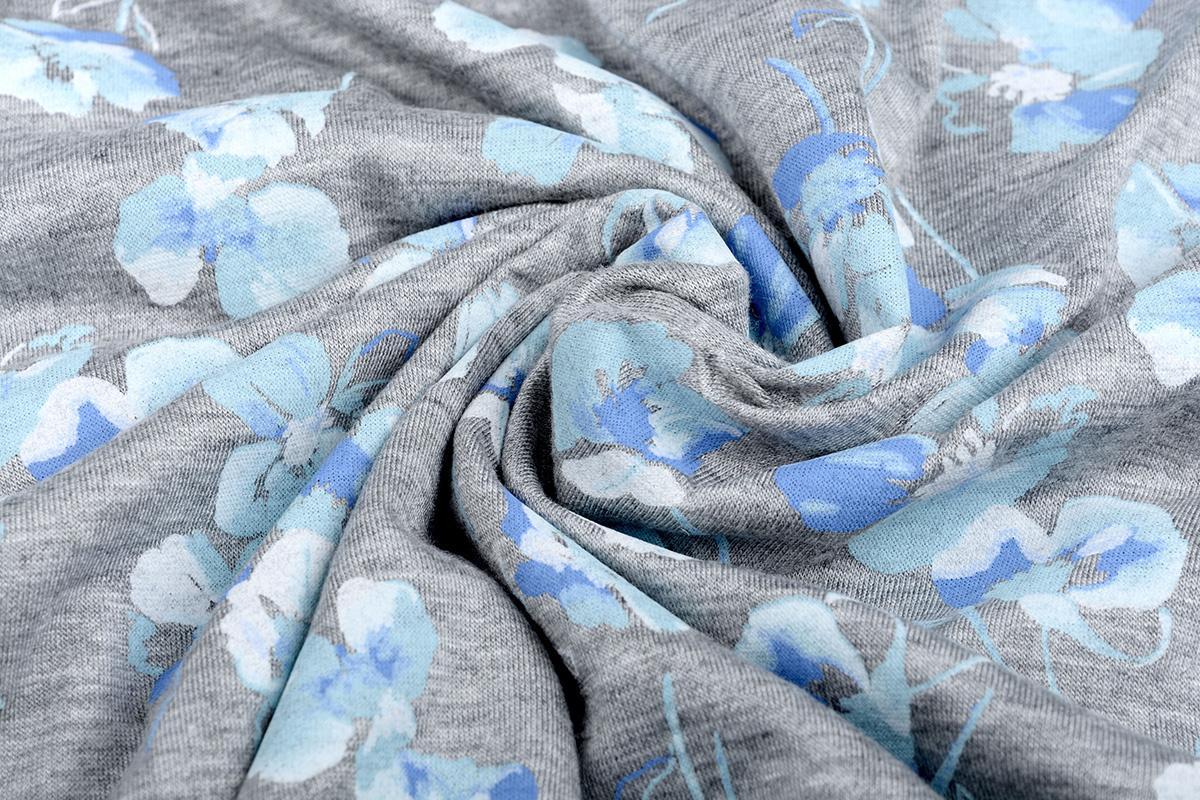 Mi & Joe Jersey Stoff Baumwolle Veilchen Grau Melange
