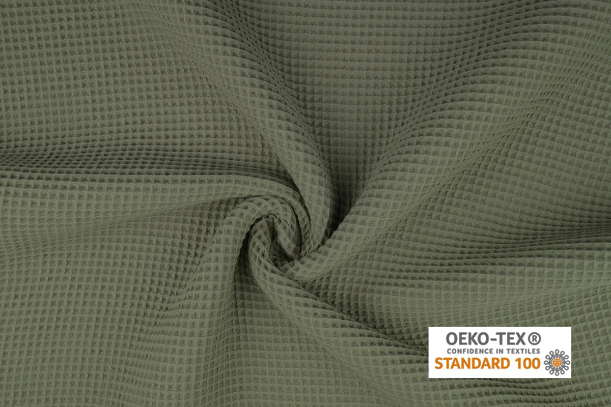 Oeko-Tex®  Wafel Katoen Licht Army groen