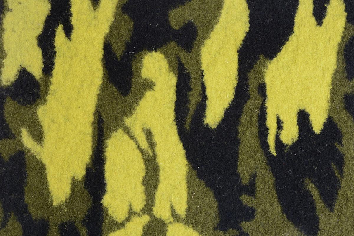 Gebreide Wollen stof Army Geel