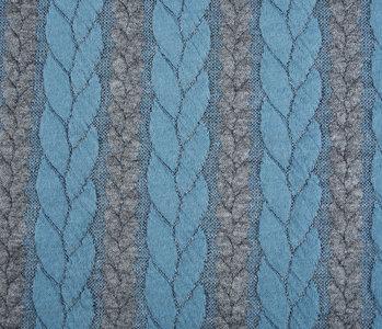 Gebreide kabel stof tricot Multi Color  Grijs Licht Aqua