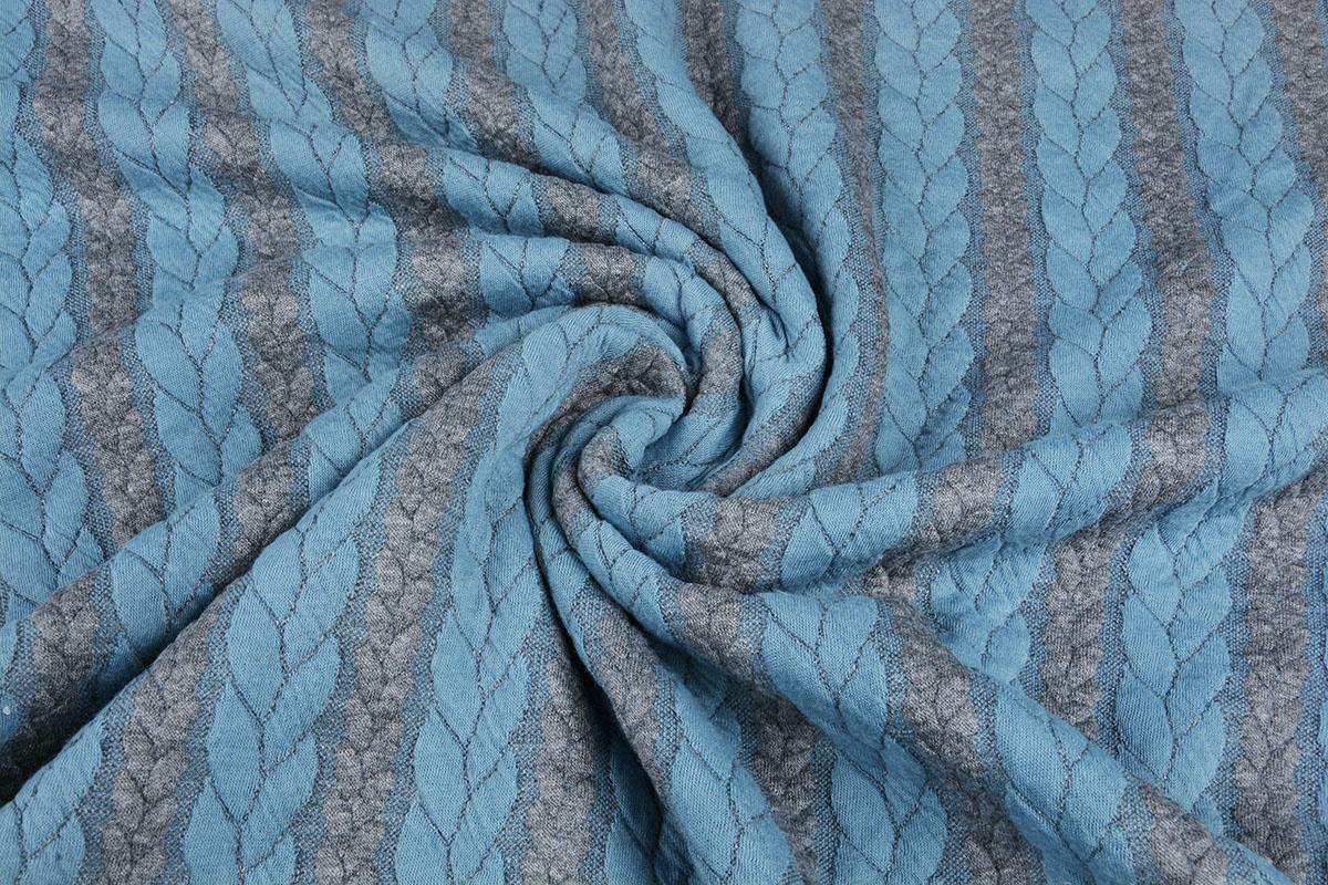 Gebreide kabel stof tricot Grijs Licht Aqua