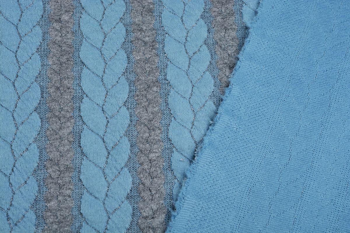 Multi Color Gebreide kabel stof tricot Grijs Licht Aqua