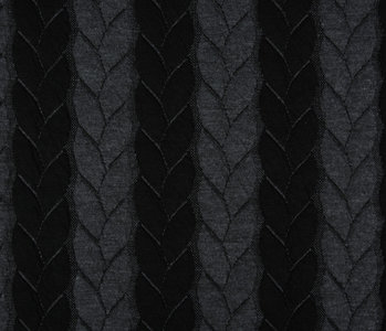 Knitted Cable fabric tricot Grey Black