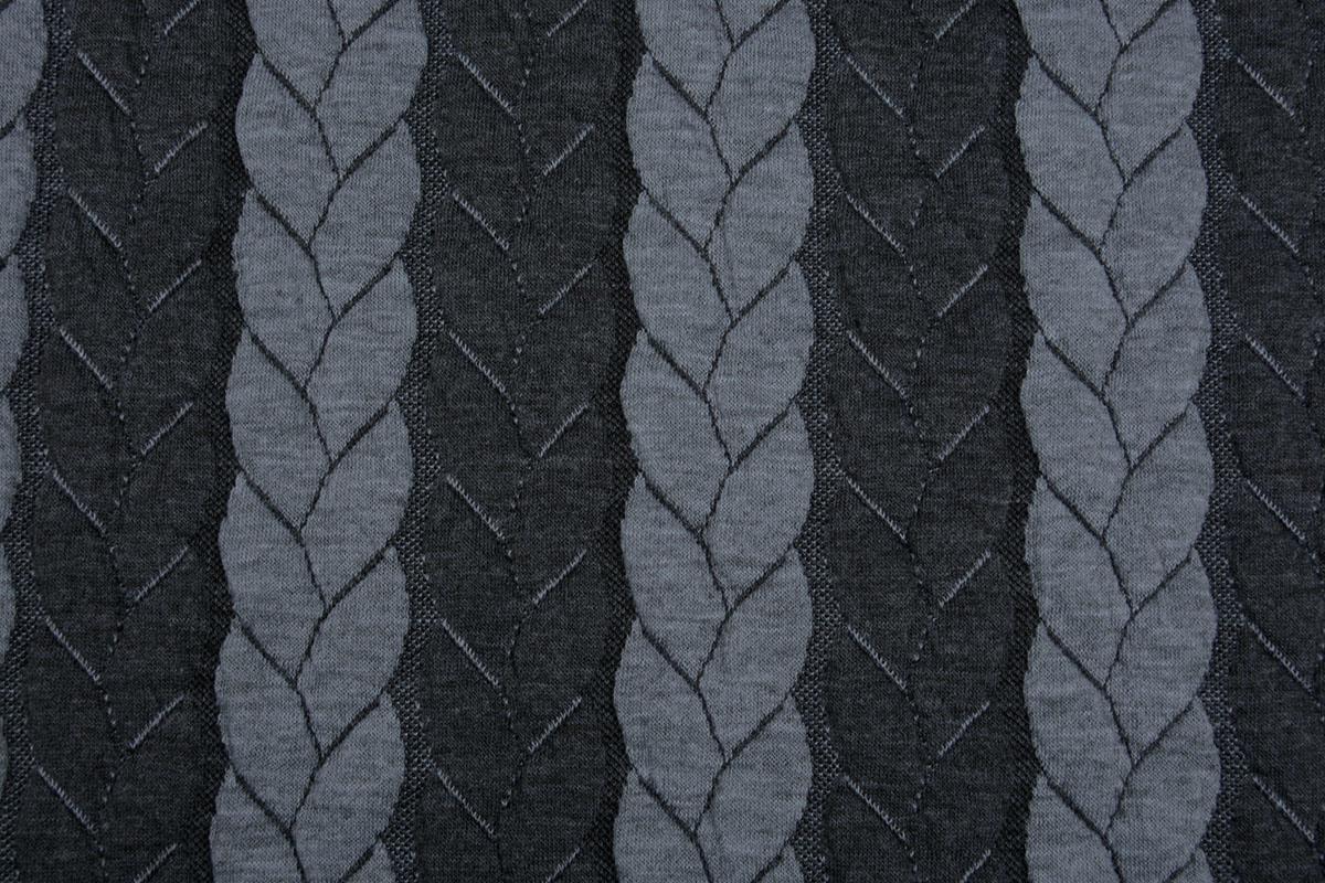 Gebreide kabel stof tricot Multi Color Grijs Donker Grijs