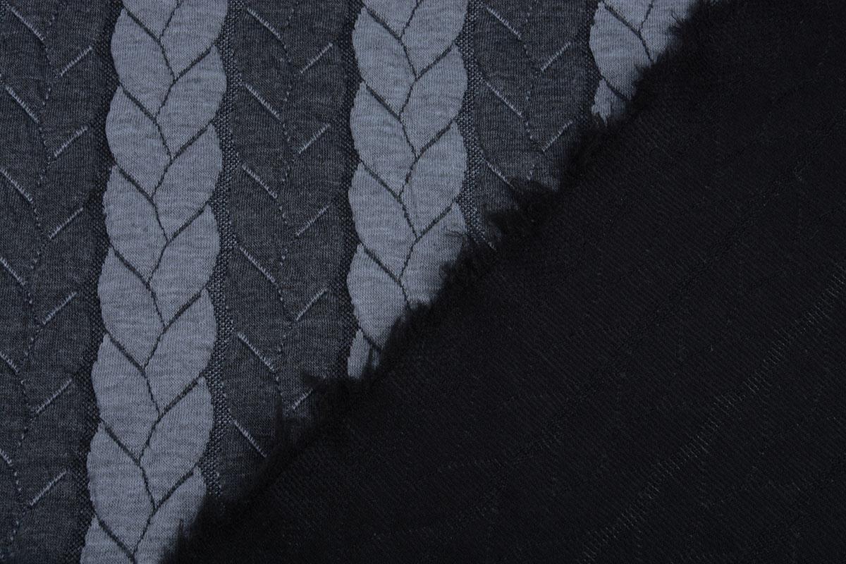 Gestrickte Kabel Stoff tricot Multi Color Grau Dunkel Grau