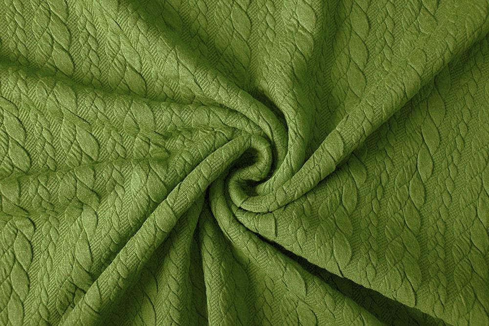 Gebreide kabel stof tricot Lime Groen
