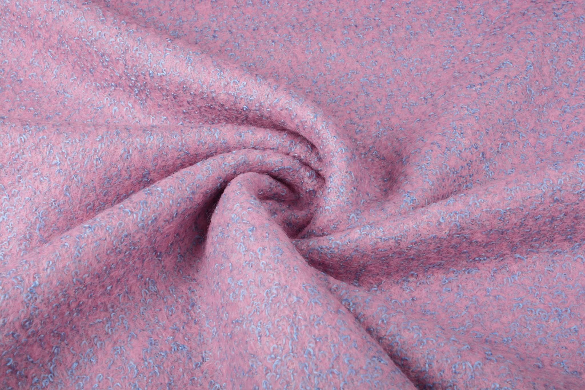 Gestrickter WollStoff Lanoso Rosa Blau