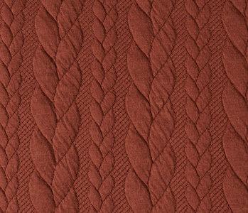 Gebreide kabel stof tricot Brique