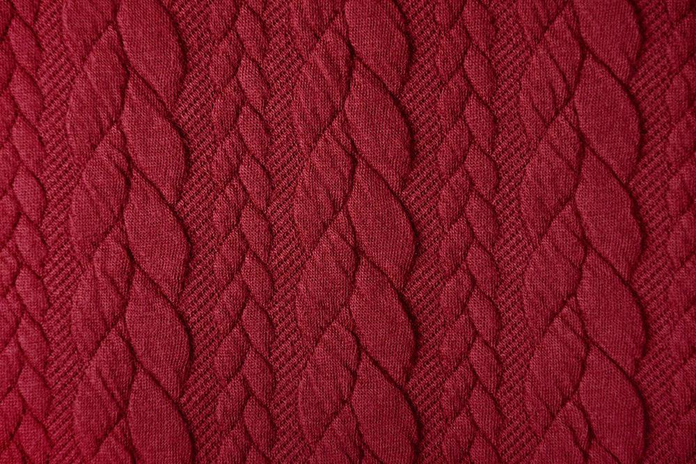 Gebreide kabel stof tricot Rood