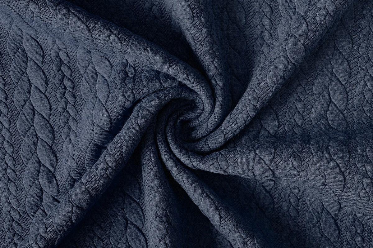Gestrickte Kabel Stoff tricot Dunkel Jeans