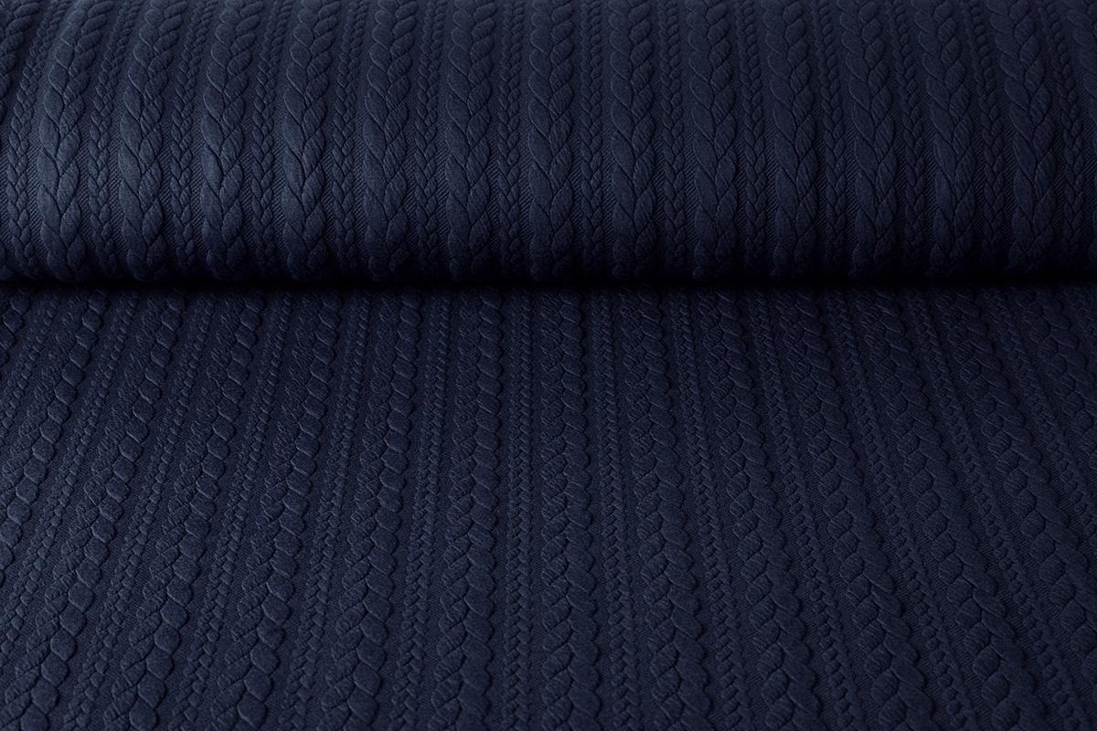 Gestrickte Kabel Stoff tricot Marine