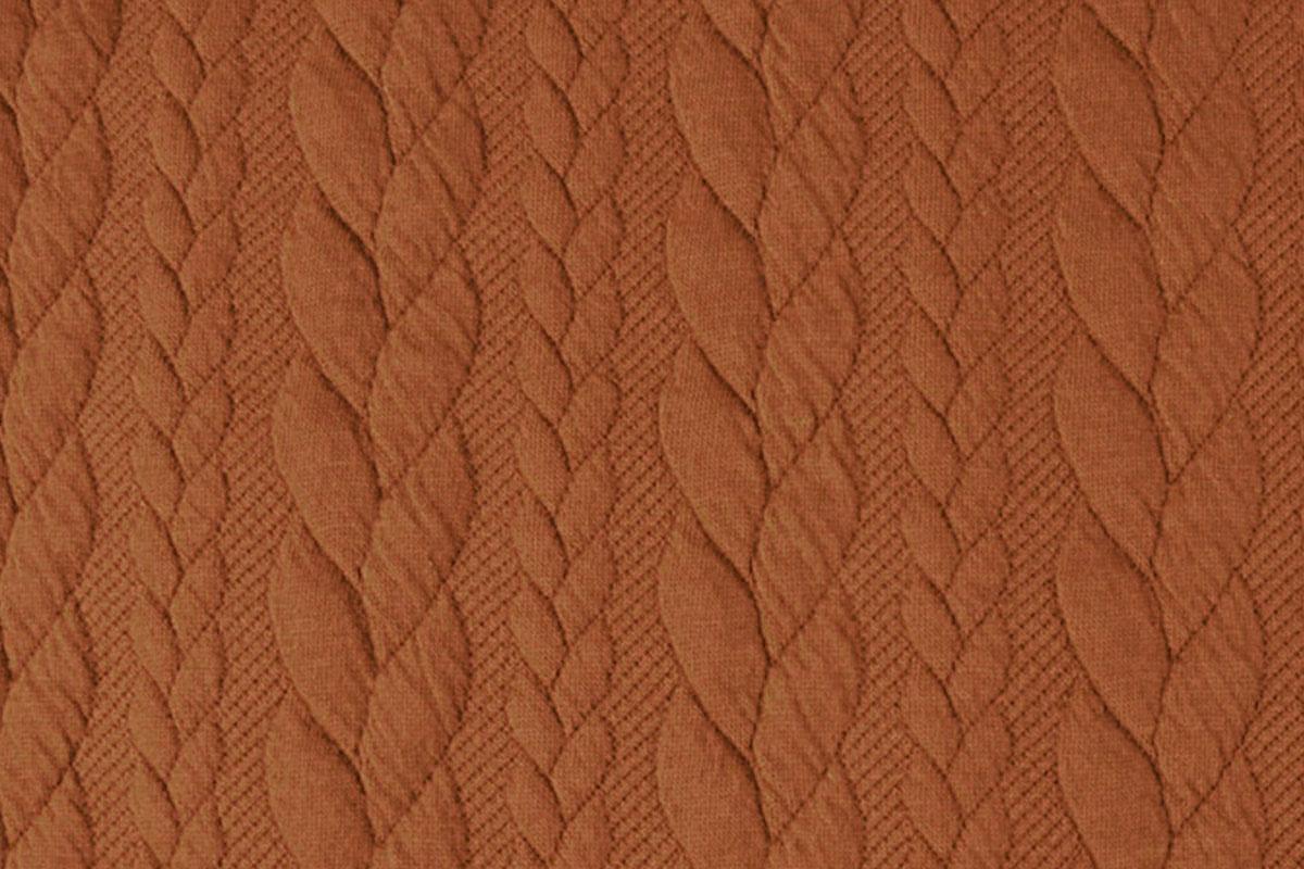 Gebreide kabel stof tricot Oranje Brique