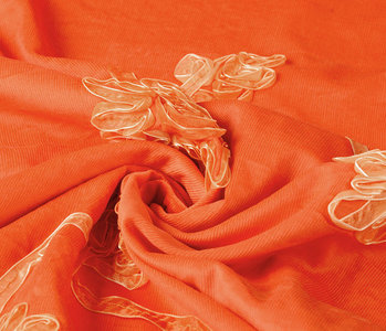 21 W Cotton Corduroy Rib Ribbon Orange