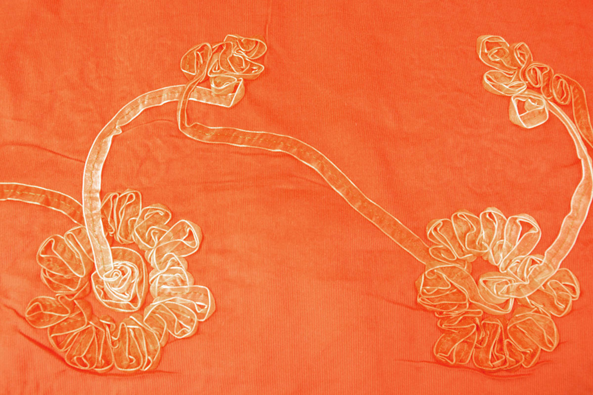 12 W 100% Katoen Corduroy Rib Lint Oranje