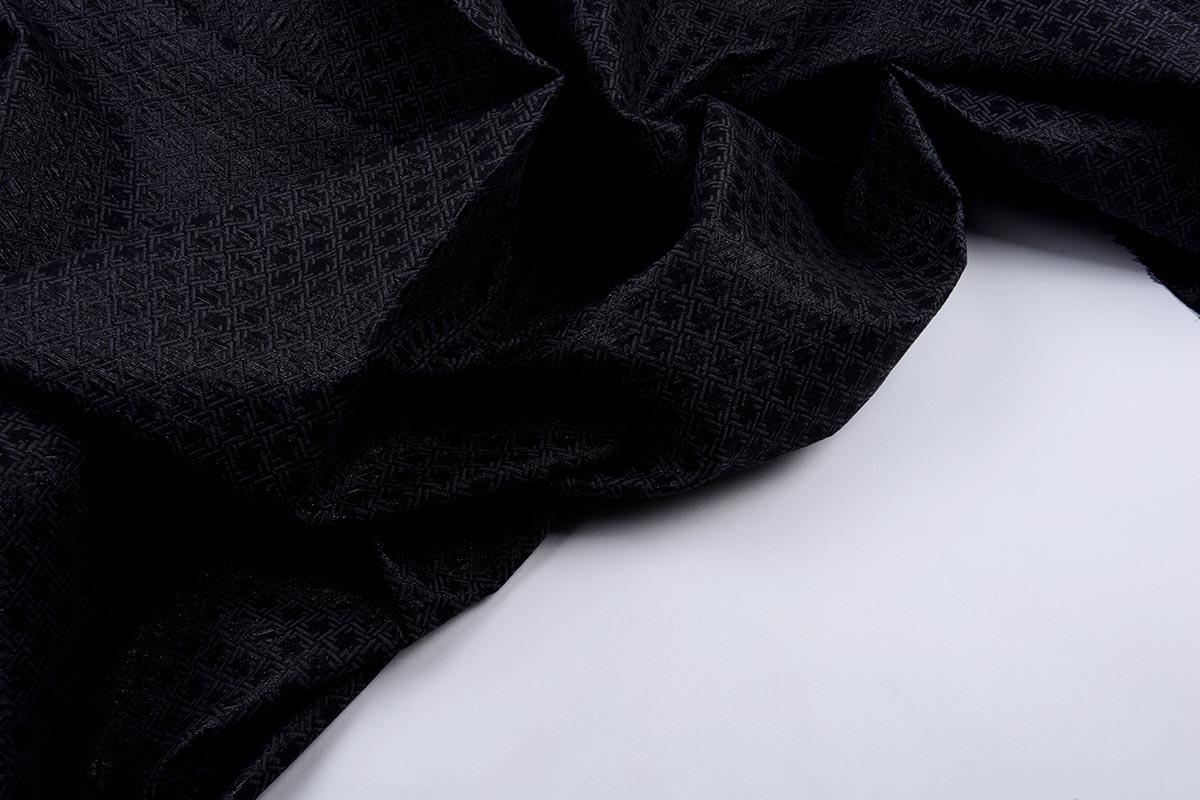 Jacquard Lurex Bengaline Zwart-Grijs