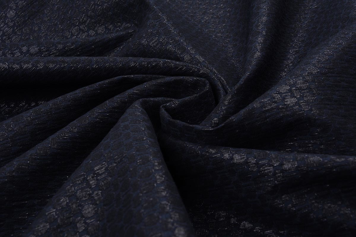 Jacquard Lurex Bengaline Black-Blue
