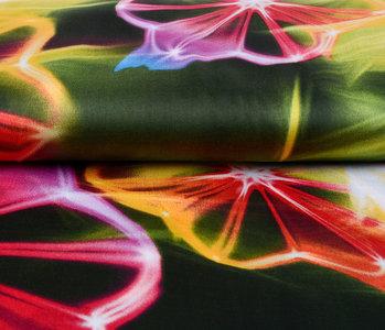 100% Viscose Digital Printed Neon Pink Green