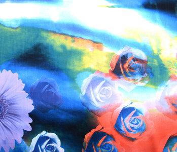 100% Viscose Digital Printed Gerbera and Rose Blue