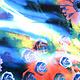 100% Viskose Digital Printed Gerbera und Rose Blue
