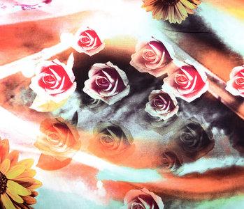 100% Viscose Digital Printed Gerbera and Rose Red