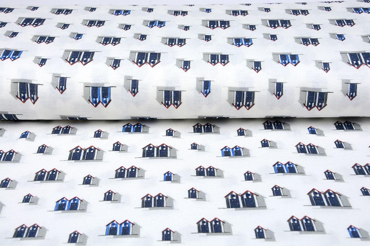 Cotton Jersey vakantiehuisjes Blauw