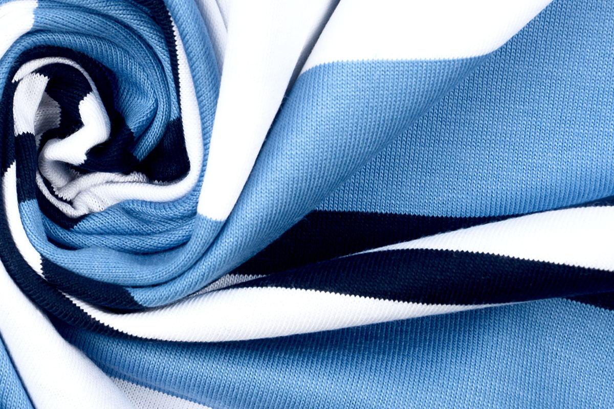 Baumwolljersey Rami Gestreiftes Blau