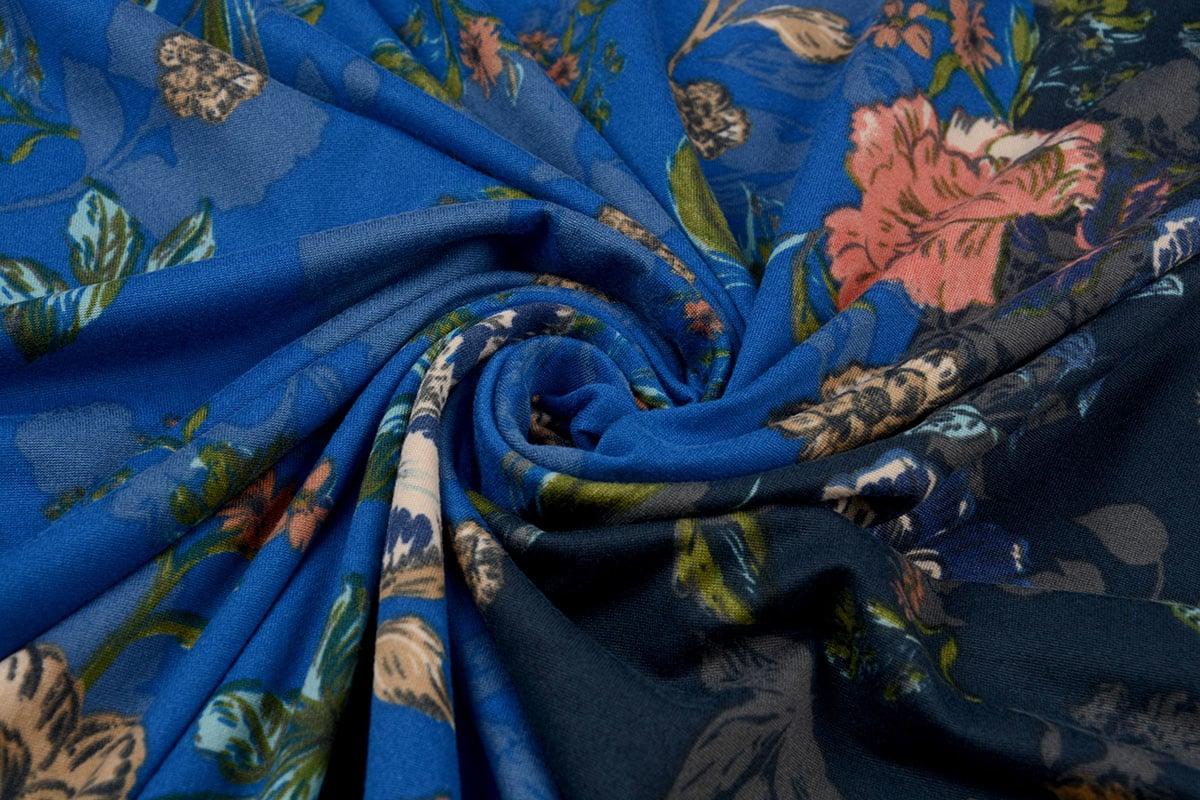 Lycra Tricot Simmer Flowery Tweekleurig Blauw