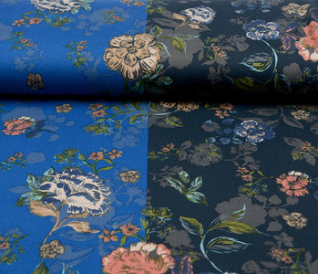 Lycra Tricot Crepe Simmer Flowery Two-tone Blue